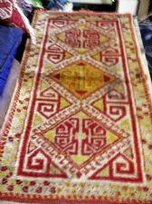 "ANTIQUE RUG / PRAYER MAT ? 36"" X 19.5"" YELLOW OCHRE DIAMOND CENTRE VELVET FEEL"